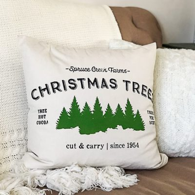DIY Christmas Pillow Covers With Chalk Couture