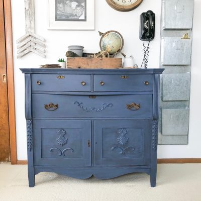 If you are looking for a beautiful blue dresser, click over to see how to DIY an old dresser into a glazed blue dresser beauty!