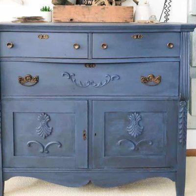DIY Glazed Blue Dresser Makeover