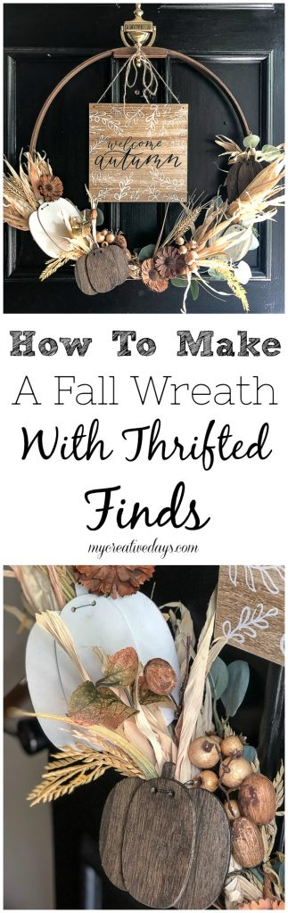 Wreaths are a great way to welcome a new season. This tutorial on how to make a fall wreath will show you how to make a fall wreath with thrifted finds.