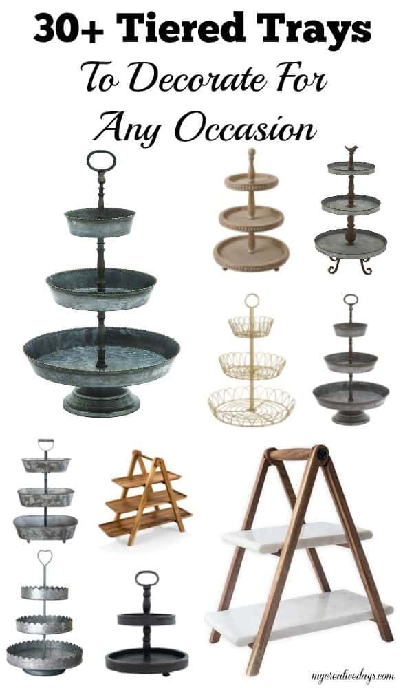 You can decorate tiered trays for any season, holiday or occasion. Click over to see more than 30 tiered trays that are perfect options to decorate when a new occasion comes along.