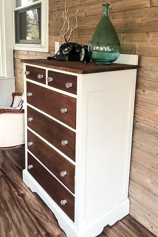 This tutorial is easy to follow and what you need for a painted and stained dresser makeover that will make any dresser AMAZING again!