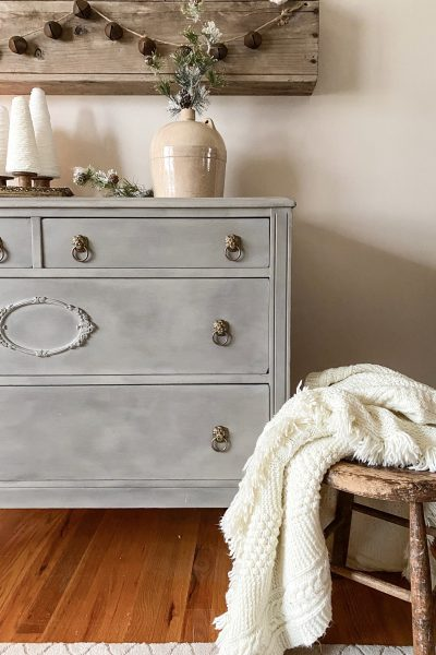 This French Provincial Dresser Makeover turns an old dresser into a beautiful piece with paint and wax.