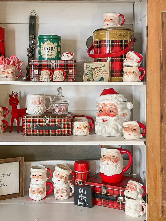 Easy tips and ideas to share how to style a hutch for Christmas easily and stress-free.