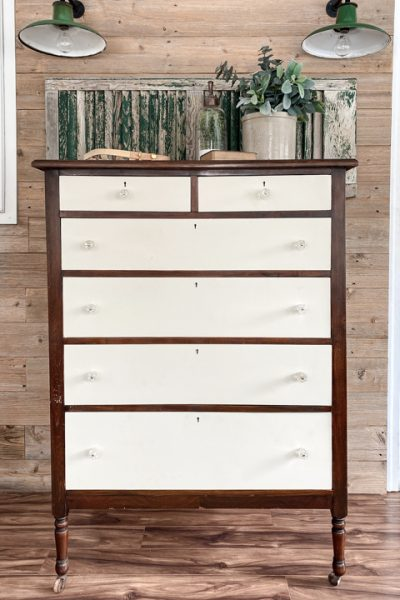 This tutorial teaches how to create a Two-Toned Painted Dresser Makeover with a few supplies and a little elbow grease.
