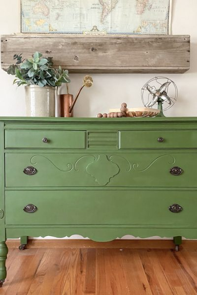 This Green Painted Dresser Makeover combines a beautiful paint color and furniture wax to create a custom piece in a few, short steps.