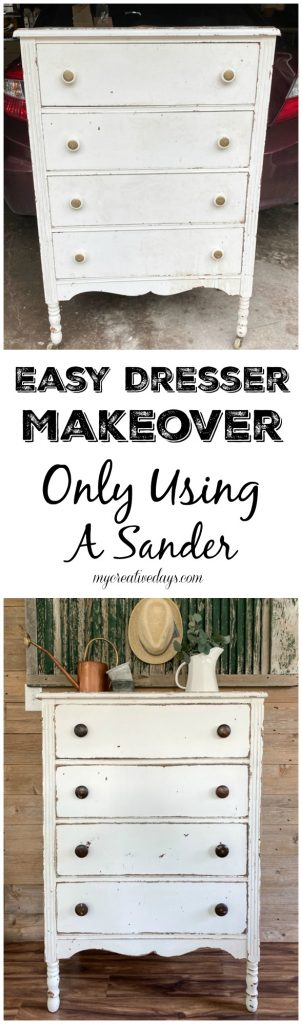 Dresser makeovers do not have to be hard, expensive or take a lot of time. This easy dresser makeover was completed in no time only using sand paper!