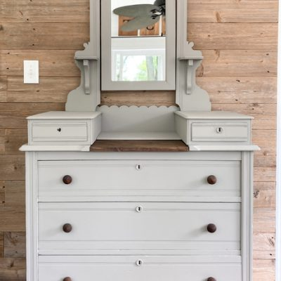 This French Linen dresser makeover is a great example of what painting a piece of furniture can do to breathe new life into a piece that needs a little TLC.