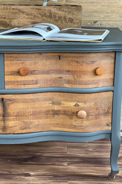 This Gray & Wood Dresser Makeover was an easy project that brought an old dresser back to life for a fraction of the cost of a brand new dresser.