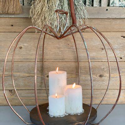 DIY Pumpkin Lantern Made From A Yard Sale Find