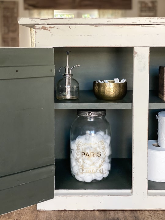 Small cabinets are perfect storage for many things and many spaces. This small cabinet makeover was easy to do with only a few supplies.