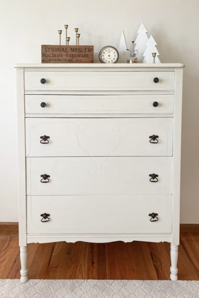 This DIY Tall Dresser Makeover was an easy way to transform an old dresser with a little TLC and paint on the outside and inside the drawers.