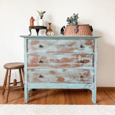 Vintage Blue Dresser Makeover