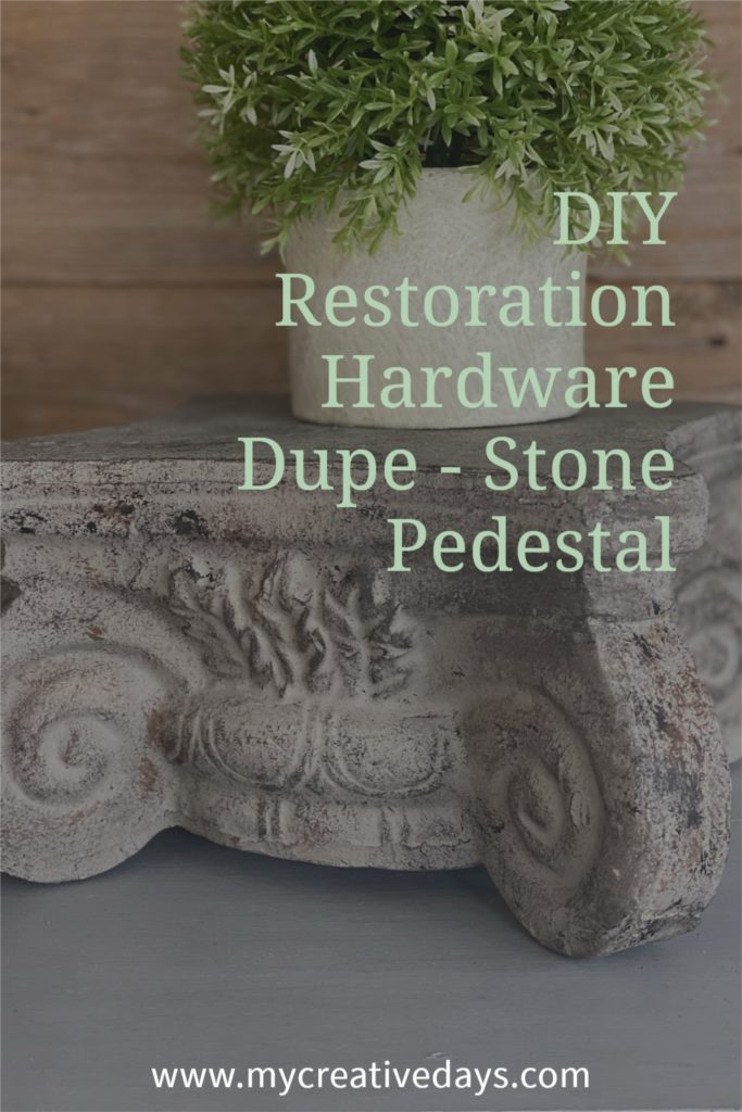 This DIY Restoration Hardware Dupe looks like the cast iron pedestal on their site! The process took little time and cost less than $10!!